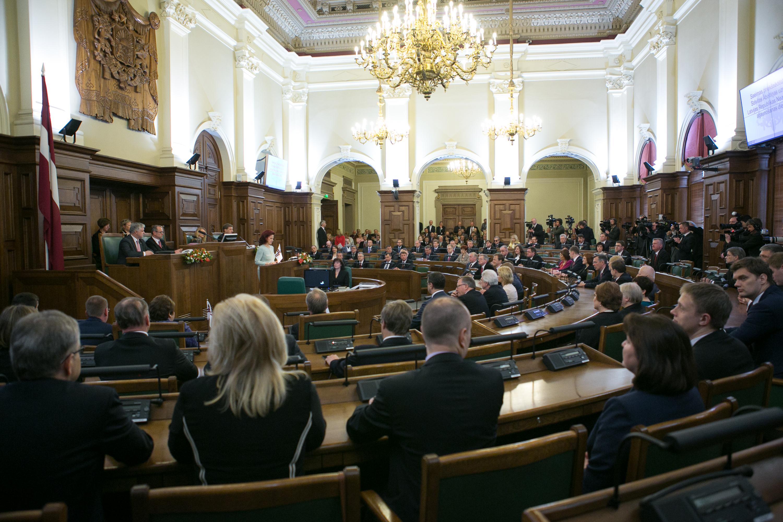 Photo de l'intérieur de la Saiema – le parlement letton. Crédit DR