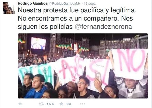 «Notre protestation a été légitime et pacifique. Nous avons perdu un de nos camarades. Les policiers nous poursuivent». Capture d'écran Twitter