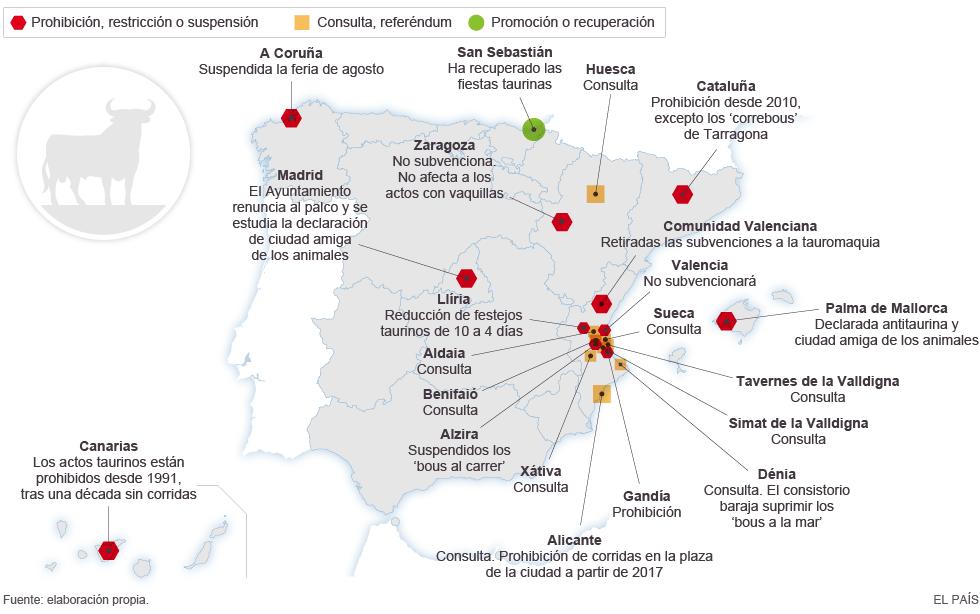 Carte de la situation actuelle de la tauromachie en Espagne - Source : El País
