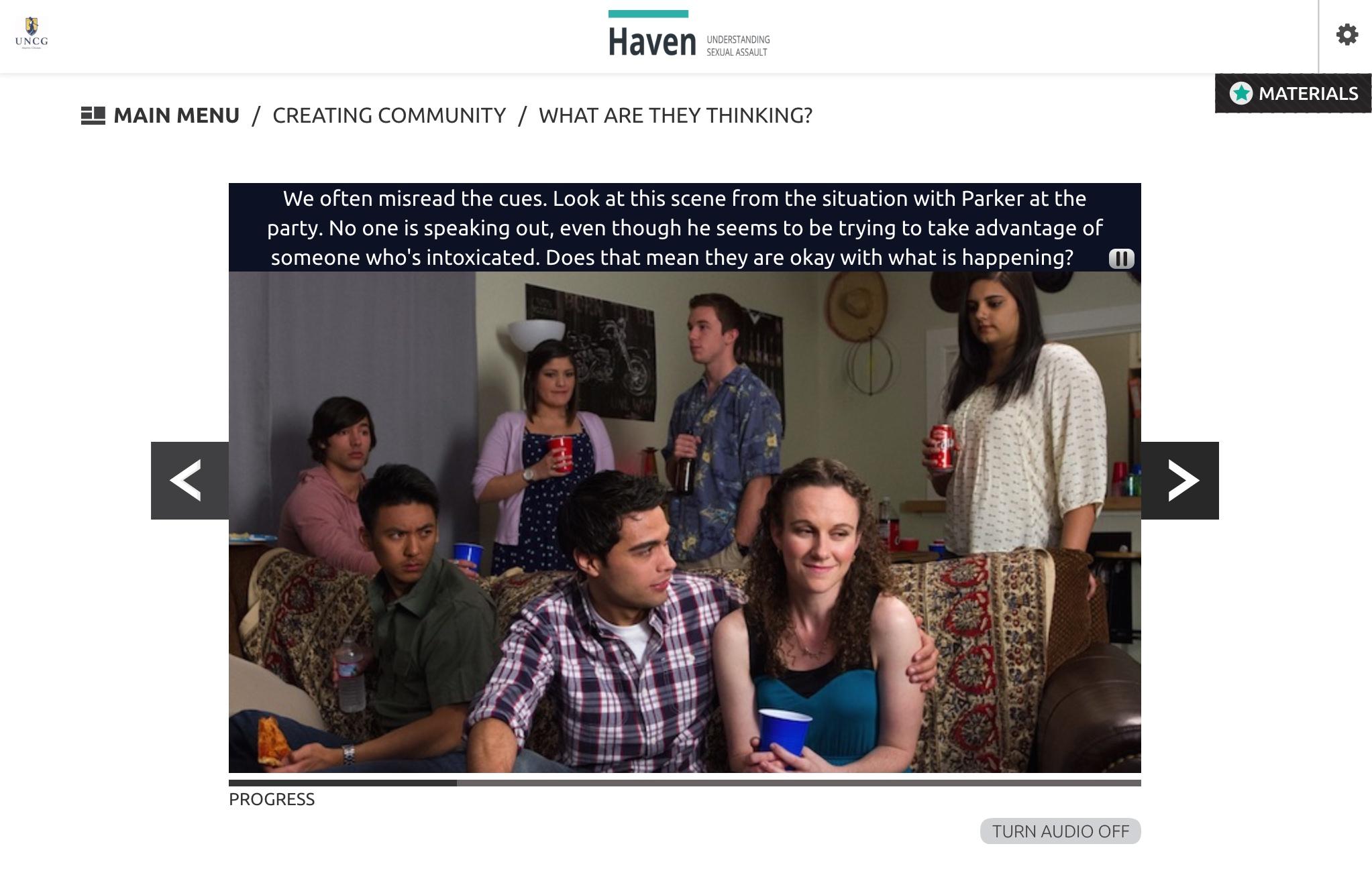 Una captura de pantalla del curso en línea que propone la UNCG