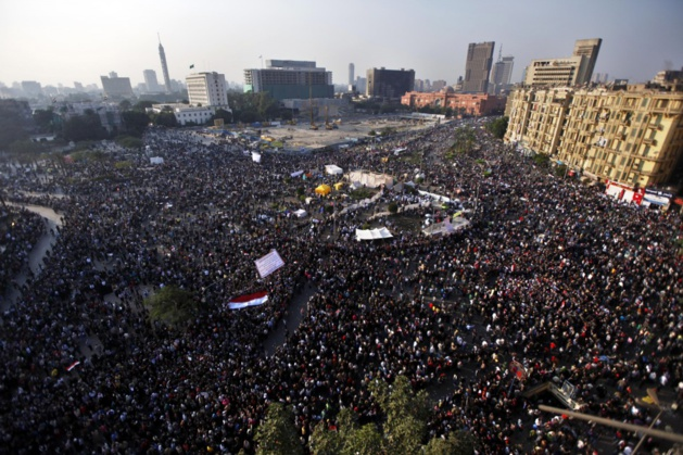 The million-man march on November 22nd, Tahrir Square in Cairo. Credit AP Photo / Khalil Hamra