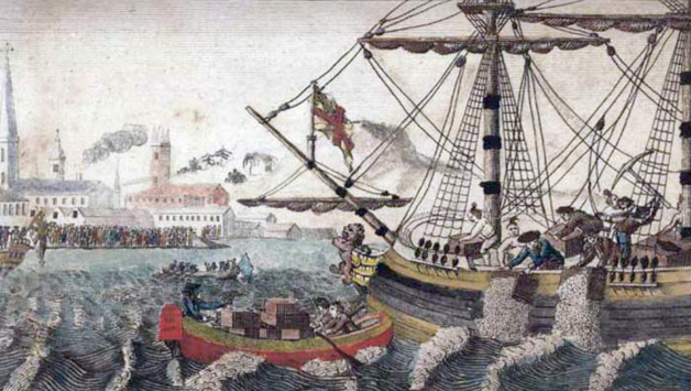 """Fonte W. D. Cooper. """"Boston Tea Party"""", The History of North America. London: E. Newberry, 1789. Engraving. Plate opposite p. 58. Rare Book and Special Collections Division, Library of Congress (40)"""