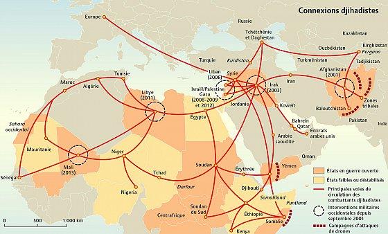 Carte « Connexions djihadistes », Mini Atlas l'État du Monde 2014