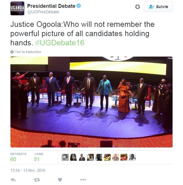 La photo historique des candidats main dans la main