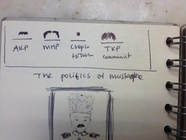 « La moustache politique » : quand la façon de la porter laisse supposer l'appartenance à un parti. Crédit photo : Chloé Marchal