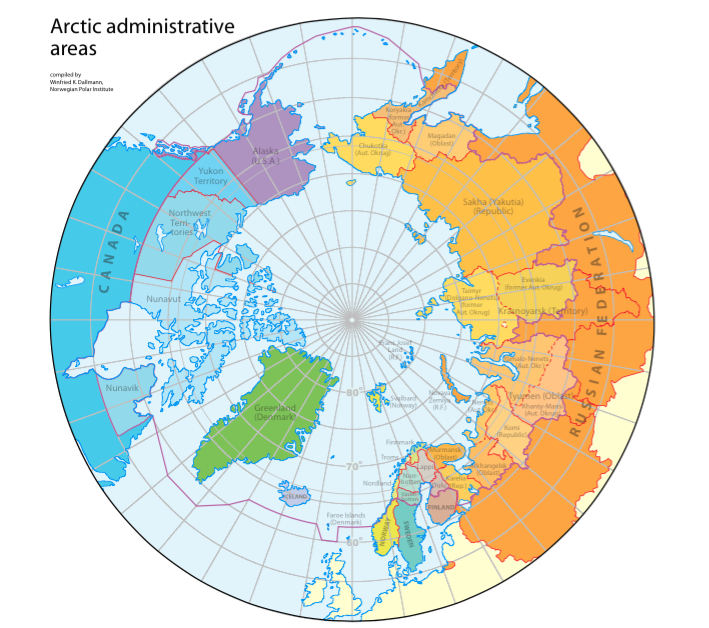 Régions administratives de l'Arctique. Crédit : Compiled by Winfried K. Dallmann, Norwegian Polar Institute / Arctic Council
